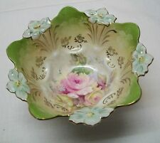 Porcelain Footed Bowl Scalloped and Flower Top Rim Roses Gold Accents Vintage