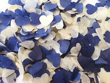 Navy Blue & Ivory Heart Wedding Confetti - Biodegradable. Table Decoration.