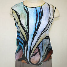 NEW NWT Cocoon House Sea Breeze 100% Silk Sleeveless Shell Blouse Large / XL