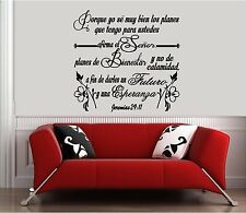 Vinyl Wall Decal. Christian.Bible. Vinilos decorativos: Jeremias 29:11 Biblia