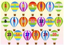 NUMBERS ON HOT AIR BALLOONS - A4 LAMINATED POSTER- FIRST LEARNING- TODDLER EYFS