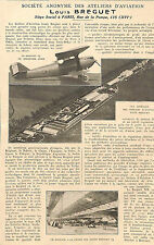 VILLACOUBLAY STE LOUIS BREGUET, STE DYLE & BACALAN AVIATION ARTICLES PRESSE 1924