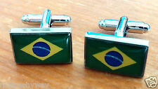 BRAZIL Flag Cuff Links World Cup 2014 Soccer Rio Olympic Games 2016 Sports Retro