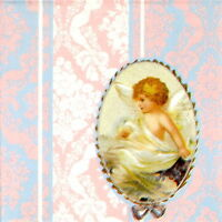 4x Single Table Party Paper Napkins for Decoupage Craft Vintage Medallion Angel