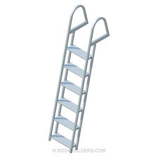 "6-Step Angled Stationary Dock Ladder with 5"" Extra Wide Steps Anodized Aluminum"