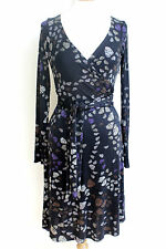 ISSA London Silk Black Butterfly Print Wrap Dress UK 10