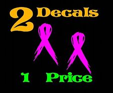 2 Breast Cancer Ribbon Vinyl Car Decal Sticker Window Wall Bow Phone hot pink