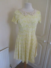 BNWT RIVER ISLAND YELLOW & WHITE PAISLEY JACQUARD PETER PAN DRESS SIZE 14