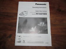 PANASONIC GS75  RARE ORIGINAL UK INSTRUCTION MANUAL BOOK INSTRUCTIONS NV-GS75EB