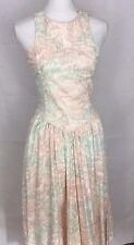 ALL THAT JAZZ DRESS SIZE 5/6 VINTAGE SUNDRESS ELASTIC BODICE BACK PINKS V WAIST