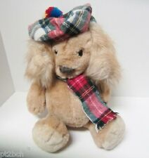 Puppy Dog Tartan Hat Scarf Long Fur Ears Gorham Cuddly Companions 1986 VTG