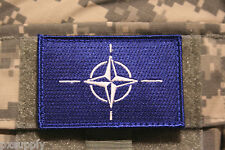 """nato flag patch embroidered velcro backing otan tactical 3"""" x 2"""""""