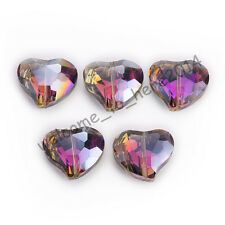 5 Pcs 20x16mm Faceted Crystal Glass Charms Heart Spacer Beads Colorized Findings