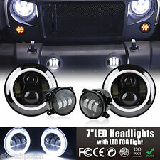 LED Halo Headlights + LED Fog Light DRL Combo Kit For Jeep Wrangler JK 2007-2016