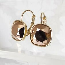 Metallic Rose Gold Rhinestone Leverback Earring w/ Cushion Cut Swarovski Crystal