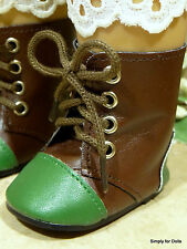 """**SALE** GREEN & BROWN Historical BOOTS SHOES fit 18"""" AMERICAN GIRL Doll Clothes"""