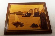 """VINTAGE MARQUETRY INLAID WOOD WOODEN SCENIC SAILBOAT PICTURE WALL ART 11 1/2"""""""