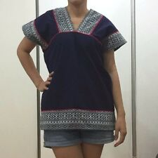 Free Size Ladies Short Sleeve T-Shirt Thai Hmong Hill Tribe Casual Hippie Gypsy