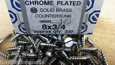 "40 x  3/4"" x 8 CHROME PLATED ON  BRASS COUNTERSUNK HEAD WOOD SCREWS SLOTTED"