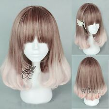 Harajuku Anime Wig Medium Long Curly Brown Pink Mix Cosplay Heat Resistant Hair