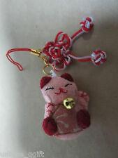 handmade Japanese Maneki Neko Lucky Cat plush Phone Strap/key/bag charm R Ca un3