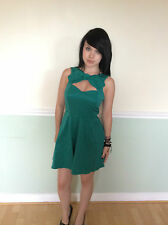 LADIES WOMENS ASOS GREEN SHORT SKATER DRESS PARTY SUMMER  ( A7 )