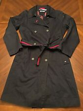 Tommy Hilfiger Jacket Tench Coat Navy Striped Belt Buttons Size Medium M EUC