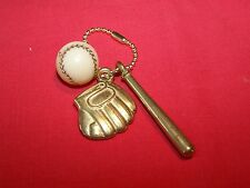 Vintage Baseball Gold Bat,Glove & White Ball w/ red stitches