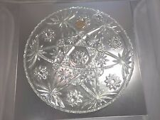 "Vintage Anchor Hocking 13 1/2"" Star of David Crystal Glass Round Plate Platter"