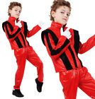 Childrens Kids Red Fancy Dress Costume Michael Jackson Thriller Outfit 3-10 Yrs