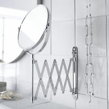 Chrome Wall Mounted Magnifying Extendable Shaving Vanity Makeup Mirror Bathroom