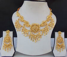 Indian Bollywood Style Ethnic Bridal Gold Plated Jewelry Necklace Earrings Set