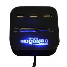 Nero HUB 3 Porte USB 2.0 HUB Combo Multi-scheda Lettore per SD/MMC/M2/MS