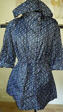 NEW Denim & Co - Black with Blue Floral Pattern Raincoat  - Size 10
