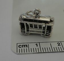 30% Flaw Sterling Silver 3D 13x16x7mm Trolley Cable Streetcar Car Charm!