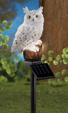"Solar Lighted White Snow Owl Perched on a Tree Stump 3-D Yard Stake 18""H x 3""Dia"