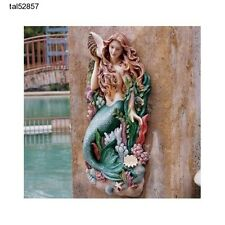 Mermaid Wall Sculpture Nautical Statue Figurine Garden Pool Decor Exotic Large