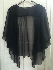 Womens BLACK Chiffon Plus Size 1X Chiffon Cardigan Bolero Top WearOrGoBare