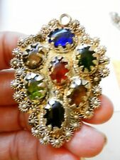 1970s Hare Krishna Hippie~Silverplated Ornate Pendant w/Colorful Glass Cabochons
