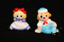Bug House Porcelain Raggedy & Girl Rag Doll Bear Figurine Miniature Taiwan