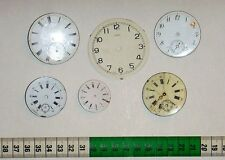 Lot of six antique enamel pocket watch and one aluminium small cl. dials.