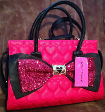 Betsey Johnson Purse Tote Satchel SEQUIN  Bow LADY  Black Fushia w/Straps NEW