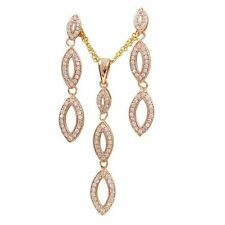 Sterling Silver Rose Gold plated Marquise CZ Earrings & Pendant Set