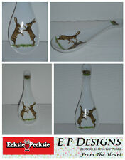 BN Large Ceramic Spoon Rest, Boxing Hares Design, Uk Seller, hand-decorated