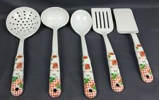 Melamine Ware Set of 5 White Kitchen Cooking Serving Utensils Strawberry Design