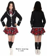 Japan School Girl Uniform Costume Tartan Dress Surcoat.Japanese Anime Costume,
