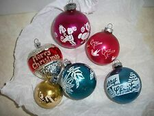 Vintage Lot of 6 Shiny Brite Stencil-Made in USA Glass Ornaments-children-birds