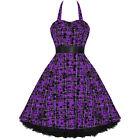 Ladies New Hearts & Roses London Purple Tartan Tattoo Punk Emo Prom Party Dress