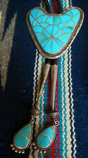 Zuni Mosaic Inlay Bolo Lone Mountain Turquoise Big Heart Shaped w Matching Tips