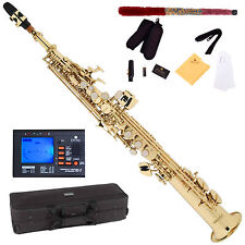 NEW GOLD LACQUER Bb SOPRANO SAXOPHONE SAX PACK + TUNER